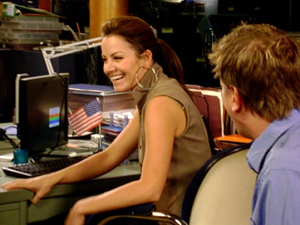 Erica Durance on the Set of Smallville Season 8- photo from the CW Source